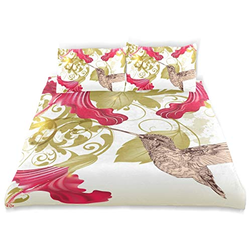 FANTAZIO Retro Humming Bird Floral Pattern Kids Duvet Cover Set Breathable Twin Size Cover 3 Piece Bedding Set Standard Size Pillow Cover for Children Teens