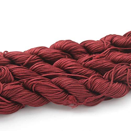 Perlin 30 metros de hilo de macramé de 1 mm, cordón para joyas, hilo para manualidades, selección de colores (rojo burdeos)