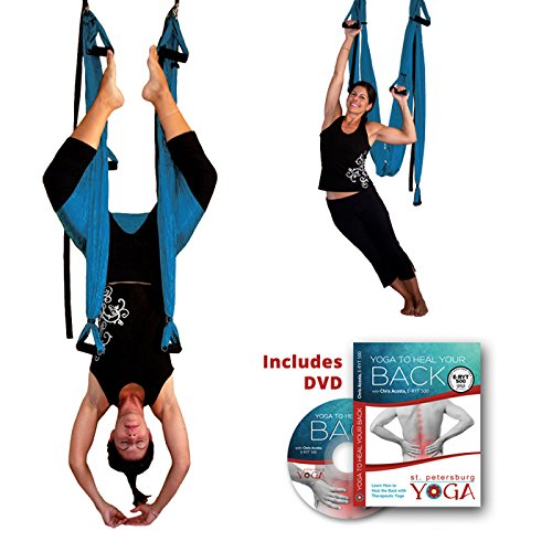 Best Price! Gravotonics Inversion Sling - Yoga Swing Original (Turquoise) & Yoga Back DVD