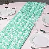 BoaInx Simplicidad con Estilo Partido de la Boda de Rose Rosette Corredores de la Tabla del satén 30x275CM 3D Grandioso Decoración Textil hogar Tabla para decoración de Mesa (Color : Tiffany)