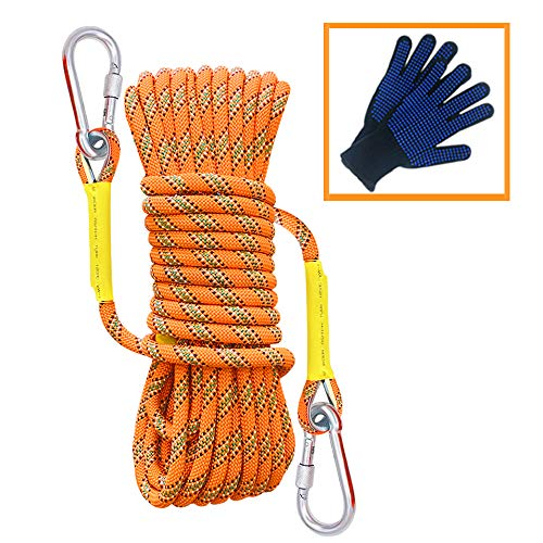 Trsmima Outdoor Climbing Rope, 8MM Diameter Static Rock Climbing Rope 10M(32ft) 20M(64ft) 30M (96ft) Tree Climbing Rappelling Rope with Safety Working Gloves, Escape Rope Fire Rescue Parachute Rope