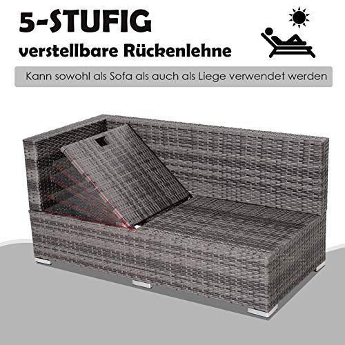 Outsunny Dreiteiliges Gartenmöbel Set, Sofa, Beistelltisch mit Stauraum, 5-Stufig Rückenlehne, PE-Rattan, Grau, (Sofa) 130 x 64 x 62 cm - 6