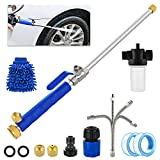 Hydro Jet Power Washer, SFENNGPET High Pressure Power Washer Spray Nozzle w/ Extendable Flexible Car Washing Wand 2 Hose Nozzles Universal Hose End Foam Tape Brush for Car Window Glass Washing, Navy