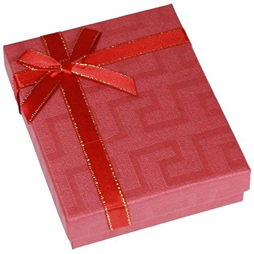 EYS JEWELRY Schleife Schmuck-Etui für Schmuckset Halskette Ohrringe Anhänger 90 x 110 x 28 mm Kartonage rot Halskette-Box Ohrring-Schachtel Schatulle Geschenk-Verpackung