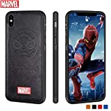 Marvel Avengers iPhone Leather Case Protective Cell Phone Case for iPhone X/XS Marvel Avengers Comic Super Hero Inspired Series 3D Premium Scratch-Resistant (Black Spiderman)