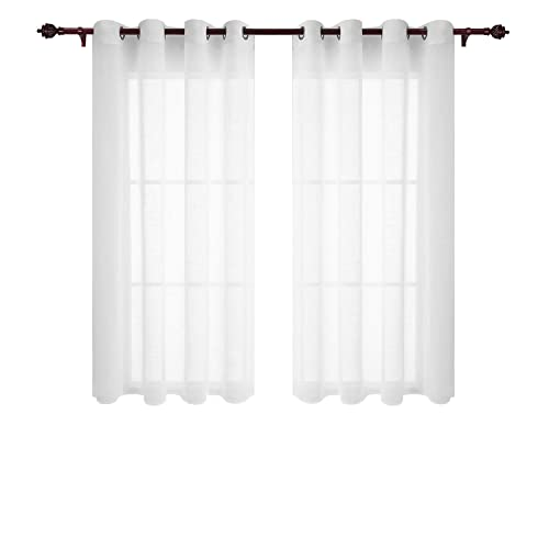Deconovo Home Decorations Semi Transparent Curtain Voile Panels Back Eyelet Curtains Sheer For Window