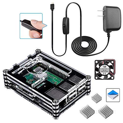 Smraza Per Raspberry Pi 3 B+ Case con Alimentatore On/off, Dissipatore, Ventola Compatibile con Raspberry Pi 3B Plus, 3B, 2B (La Piastra Raspberry Pi Non è Inclusa)