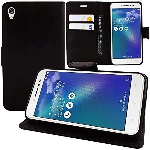 """VCOMP® Housse Coque Etui Portefeuille Support Video Livre Rabat Cuir PU pour ASUS Zenfone Live ZB501KL 5.0""""/ Zenfone 3 Go (Non Compatible Zenfone Go ZB500KL) - Noir"""