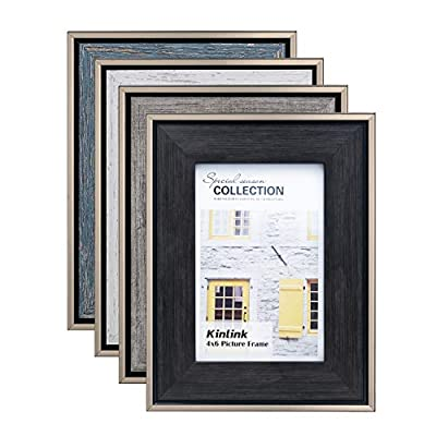 KINLINK 4x6 Rustic Picture Frames - Distressed Farmhouse Frames with Real Glass for Tabletop and Wall Mounting Display, Set of 4