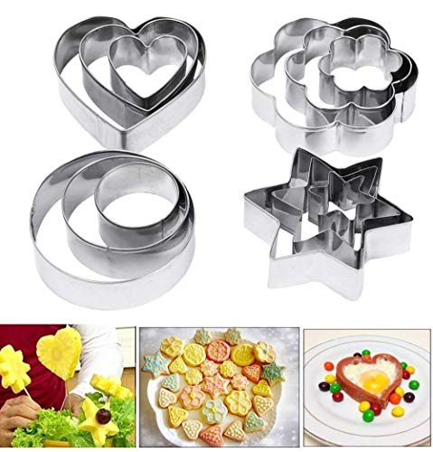 DSC Cookie Cutter 12Pcs/Set Pastry Fruit Molds Stainless Steel Heart Flower Round Star Biscuit Mould Fondant Cutting Cutters