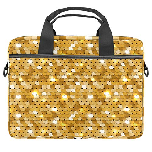 Sequined golden 13.4-14.5 inch Laptop Bag Case with Shoulder Strap, Computer Sleeve Cover Compatible All Computers Messenger Bag with Accessory Pocket