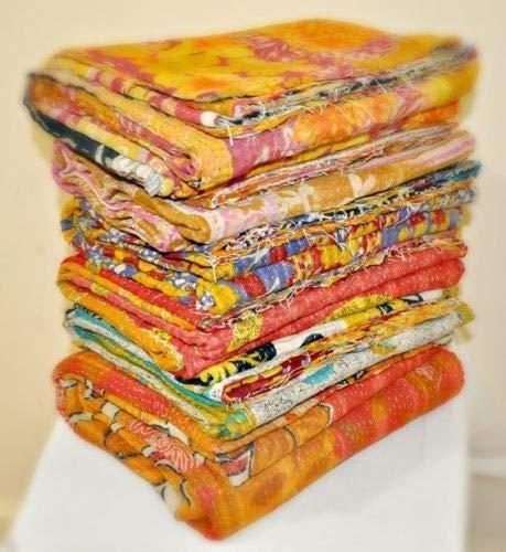 Vedant Designs 5 Pieces Vintage Blanket Wholesale Kantha Lot Indian Quilts Throw Hippie Bohemian Bedspread Old Saree Vintage Kantha