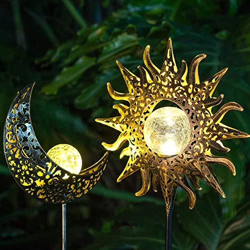 Solar Lights Outdoor Decorative Garden,Waterproof Metal Sun Moon Stakes Decor,Solar Powered Garden Art Crackle Glass Globe Lights for Walkway,Yard,Lawn, Patio