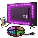 SYOSIN - Iluminación de fondo LED para TV, 4 m, USB, tira de luces LED RGB, con mando a distancia, para televisores de 65 a 75 pulgadas, pantalla de TV, tiras LED. Más [Clase energética A]