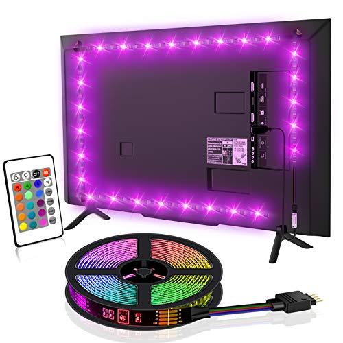LED TV Hintergrundbeleuchtung, SYOSIN 2m USB LED Strip Lichtband RGB Led Beleuchtung Fernseher mit Fernbedienung für 40-60 Zoll HDTV, TV-Bildschirm, LED Streifen.MEHRWEG [Energieklasse A ]
