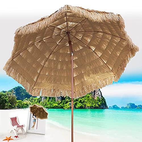 XINGG Sombrilla Parasole Hawaii De 300cm, Sombrilla De Fiesta Thatch Tiki con Función De Inclinación, Protección Solar, Protección UV, para Jardín, Terraza, Patio Trasero Y Piscina