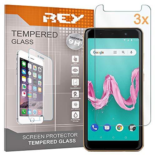 REY Pack 3X Panzerglas Schutzfolie für WIKO Lenny 5, Bildschirmschutzfolie 9H+ Festigkeit, Anti-Kratzen, Anti-Öl, Anti-Bläschen