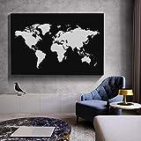 KWzEQ Pintura sin Marco Mapa Abstracto en Blanco y Negro sobre Lienzo Mapa Moderno póster y Sala Mural Mural artAY6503 70X105cm