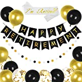Happy Retirement Banner Gold Black Balloons with Sash GAGAKU Retirement Party Decorations for Men Women