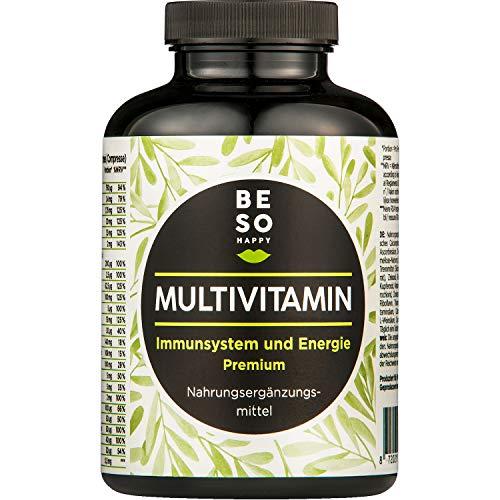 BeSoHappy® Premium Multivitamin (180 Tabletten für 6 Monate Immunkur) mit Vitamine A, B, C, E, K, Kalcium Zink & Mehr l Hochwertig – Laborgeprüft in Deutschland l Vegan