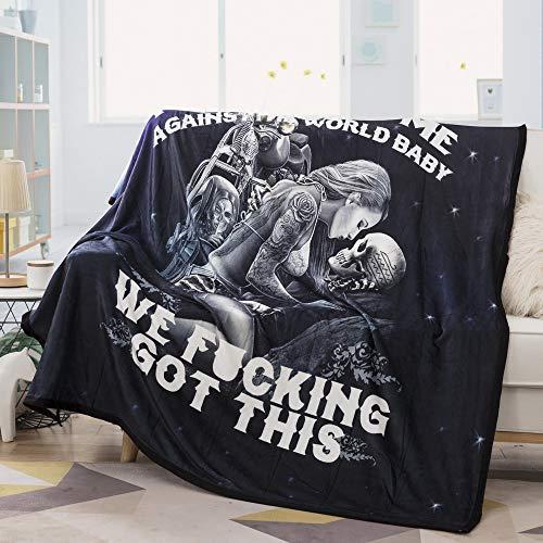 Vankie Ride or Die Motorcycle Biker Lovers Luxury Royal Plush Blanket 60'x 80' inch (Style 2)
