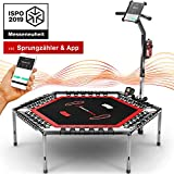 Messe-Neuheit 2019! Smart Fitness Trampolin, inkl. Pulsgurt, Trainings-Video, Sprungzähler & APP, klappbar, höhenverstellbarer Haltegriff mit Handy- & Flaschenhalterung, HTX100 Indoor Jumping Workout