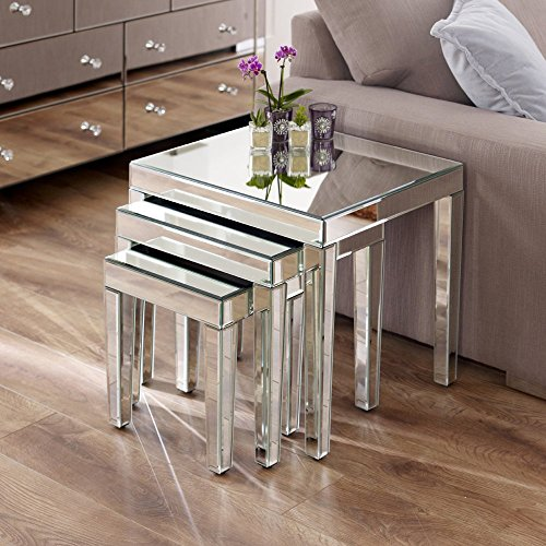 The Furniture Market Mirrored Nest of 3 Tables
