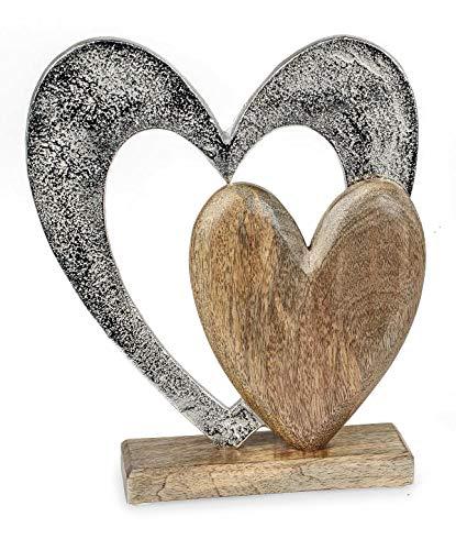 Deko Figur Herz Herzen 26 cm, Mango Holz massiv natur braun Metall Alu silber, Dekoherz Herzaufsteller Herzdeko zum Stellen