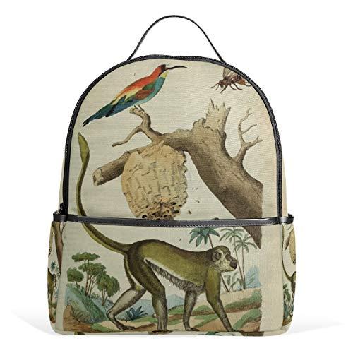 Rugzak Daypack Jungle Monkey Bird lichtgewicht canvas boek tas voor jongens meisjes tieners vrouwen