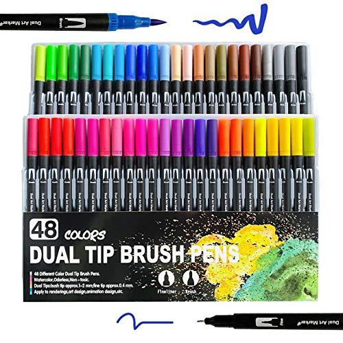 Rotuladores de doble punta para colorear, 48 colores, rotuladores de punta de...