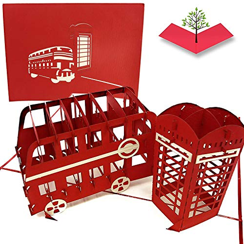 PopLife London Bus & Telephone Box 3D Pop Up Greeting Card for All Occasions - Routemaster, Travel Abroad, UK Double Decker - Folds Flat for Mailing - Birthday, Congrats, Graduation, Anniversary