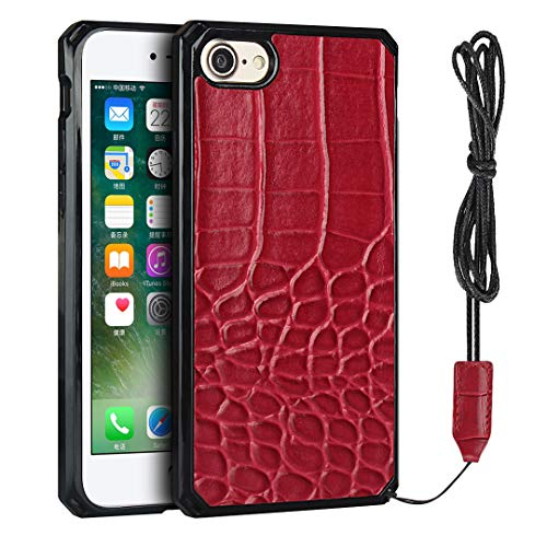 Crocodile Pattern PU Phone Case with Lanyard,Phone Case for iPhone 7 / iPhone 8 (Red)