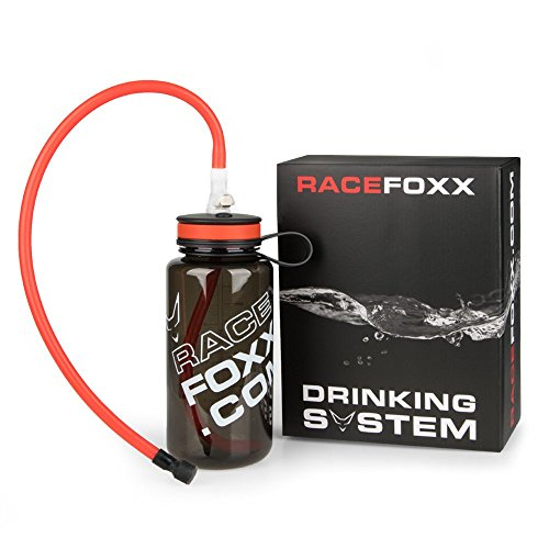 Trink System mit 2 Schläuchen, Trinkstück Click Anschluß, Flasche, Sportflasche, Kunststoffflasche, RACEFOXX