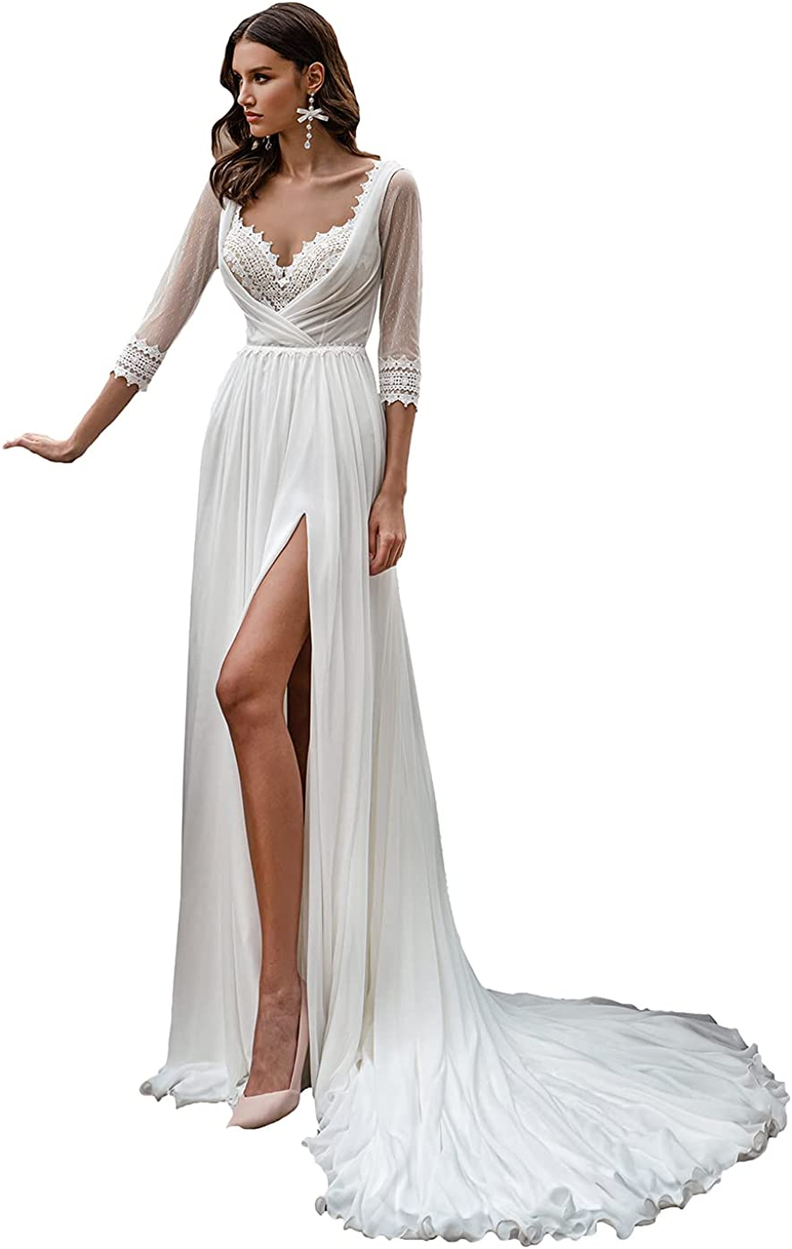 DDMIX Boho Wedding Dresses for Bride Lace Chiffon with Sleeves Slit Wedding Gowns for Women
