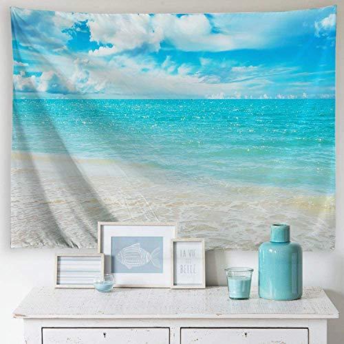 PROCIDA Home Tapisserie Wandbehang Natur Kunst Polyester Stoff Sea Beach Thema, Wanddekoration für Schlafsaal, Schlafzimmer, Wohnzimmer, Nagel enthalten Hellblaues Meerwasser 60 x 40 Inch