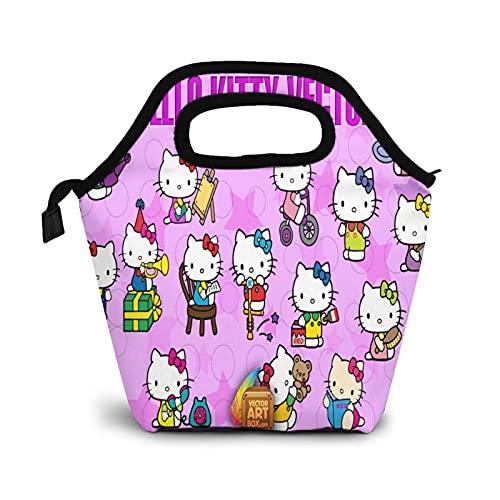 Hello Kitty - Bolsa térmica térmica para almuerzo, para adultos, hombres, mujeres, niños, portátil, con tenedor y cuchara para alimentos y bebidas, picnic, playa, escuela