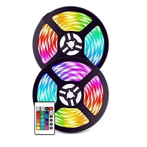 ABTSICA Tiras De Luz WiFi, Aplicación Inteligente Modo De Música Remota Tiras De Luz LED Cinta Flexible Impermeable Ultralarga 5050 Luces Cuerda De Colores RGB para Navidad De Armario,10m 300 Lights