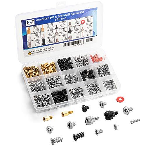 530pc Basic Computer Screw Kit | Includes Motherboard Standoffs Set