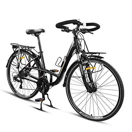 NENGGE Rennrad, 24 Gang-Schaltung Rennrad Fahrrad, Erwachsene Herren Alu-Rahmen Fahrräder, Trekkingrad Mit Scheibenbremsen, 700 * 38C Reifen,Schwarz