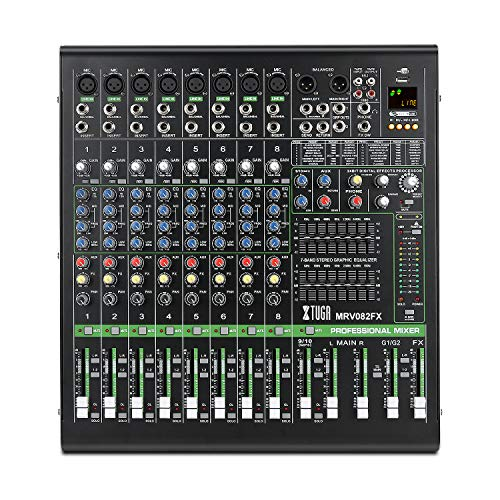 XTUGA MRV082FX 8-Channel Audio Mixer Sound board Ultra-fashion of all metal chassis with digital display MP3,Bluetooth,EQ,Effects Used for DJ Stage Party