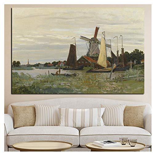 HD Print Windmolen bij zaandam impressionist Landschap Schilderen op Canvas Art Poster Muurfoto voor Woonkamer- 60x90cm Geen Frame