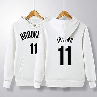 HS-ZGC Otoño Camiseta de Baloncesto Brooklyn Nets Kyrie Irving # 11 Blanca de Manga Larga Deportes de los Hombres del suéter de la Ropa de Sport del otoño e Invierno con Bolsillos