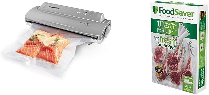 Foodsaver FSFSSL2244-000 V2244 Machine for Food Preservation with Bags and Rolls Starter Kit   Number 1 Vacuum Sealer System   Compact and Easy Clean   UL Safe, Single, Black: Food Saver: Kitchen & Dining