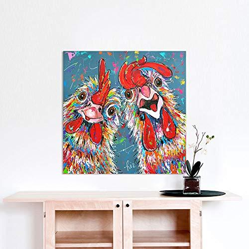 Vrolijk Schilderij Wall Art Canvas Schilderij Dieren Foto Prints Huisdecoratie Crazy Chickens E 75x75cm No Frame