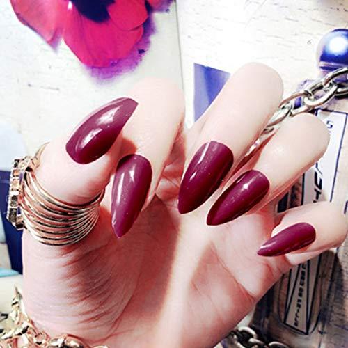 Sethexy Pure Farbe Glänzend Scharf Falsche Nägel Hell Mode Stilett Vollständige Abdeckung Lange Acryl Klaue 24 Stück Falsche Fingernägel für Frauen und Mädchen (Wein)