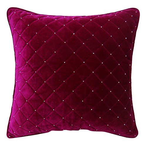 S4Sassy Decorative Hand Beaded Quilted Cushion Cover Case Royal Velvet Pillowcase Square Throw - Magenta 20 x 20