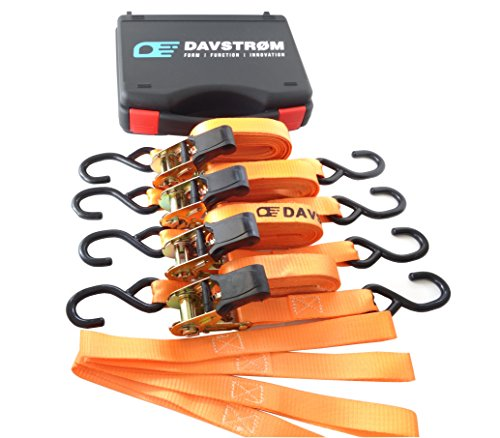 Tie Down Strap, New Davstrom Ratchet Kit, Heavy Duty Cargo Straps [2200lbs Break Strength] 4 x 1inch x 15ft + 4 Soft Loops + Carry Case. Super Safe for Motorbike, Kayak, Camping, Moving. Great Gift