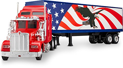 Wheel Master Kenworth W900 Play Toy Tractor Trailer Truck for Kids 1/43 Die Cast Scale, USA Flag and Eagle Design, with Functions, Pre Built, Realistic Look and Openable Doors…