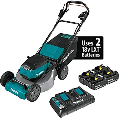 "Makita XML08PT1 (36V) LXT Lithium?Ion Brushless Cordless 18V X2 21"" Self Propelled Lawn Mower Kit with 4 Batteries, Teal"