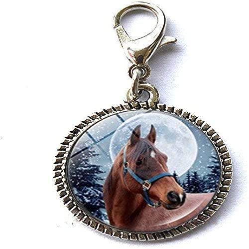 Moda invierno caballo foto encanto pulsera colgante cremallera tire encanto con cierre langosta cremallera tire joyería
